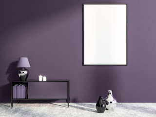 Purple living room, set of drawers, poster