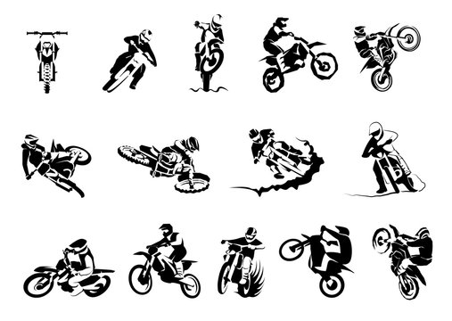 Extreme motorbike big vector set 14x, motocross