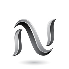 Grey Glossy Snake Shaped Letter N Vector Illustration