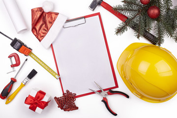 Construction hard hat and Christmas.