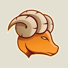 Orange Aries or Ram Cartoon Icon Vector Illustration