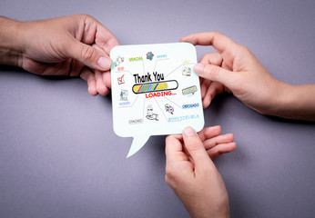 Thank You in Most Spoken Languages In The World, Business concept. Speech bubble on a gray background