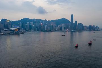 Drone fly over Hong Kong landmark