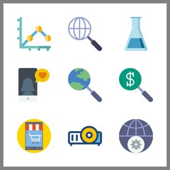 screen vector icons set. internet, laboratory, search and line graph in this set.