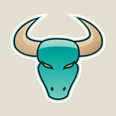 Persian Green Strong Bull Icon Vector Illustration