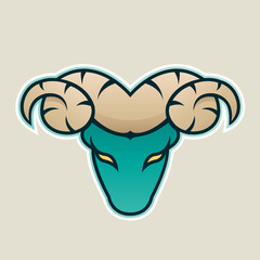 Persian Green Aries or Ram Icon Front View Vector Illustration
