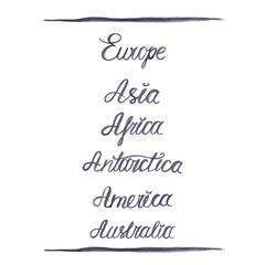 Set of hand-drawn names of the continents
