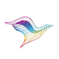 Rainbow Colored Vectorized Ink Sketch of Eagle Illustration