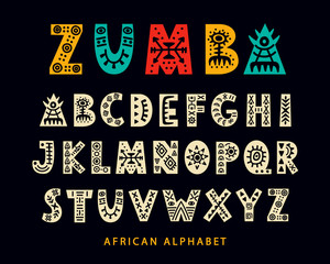 Vector Hand drawn African Tribal Font. Folk Scandinavian Script