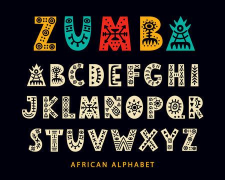 Vector Hand drawn African Tribal Font. Folk Scandinavian Script