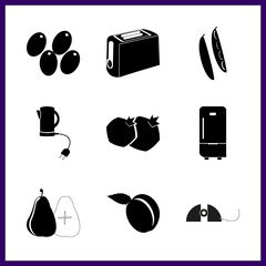 food icons set. dessert, utensils, eating and fruit graphic works