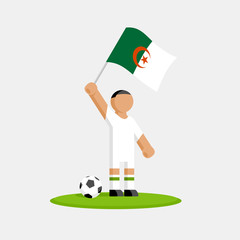 Algerian soccer player in kit with flag and ball