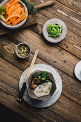 Bowl of Asian Noodle Soup with chopsticks