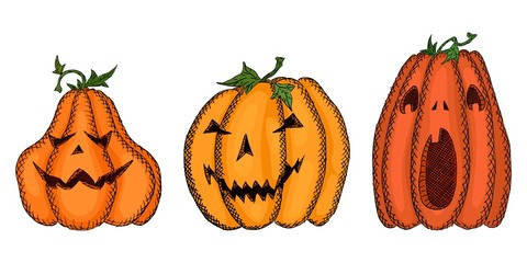 bright sketch with pumpkins with carved faces
