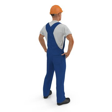 Construction Worker In Blue Overall with Hardhat Standing Pose Isolated On white Background. 3D illustration