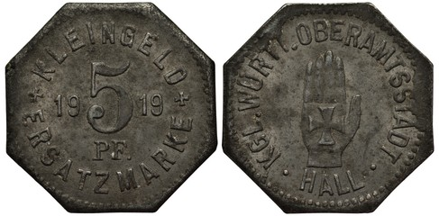 Germany German Wuerttemberg Hall coin/token 5 pfennig 1919, emergency issue, value and date flanked by crosses, hand with cross,