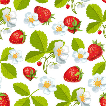 Strawberry with leaves and flowers. Seamless pattern