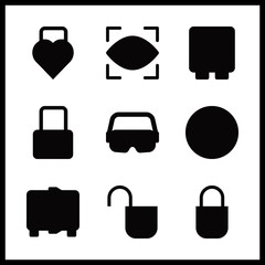 password vector icons set. padlock, eye scan, secure and safebox in this set.