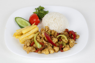 chicken with sauce with potato and rice