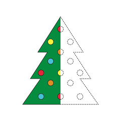 drawing worksheet for preschool kids with easy gaming level of difficulty. Simple educational game for kids. Illustration of Christmas tree for toddlers