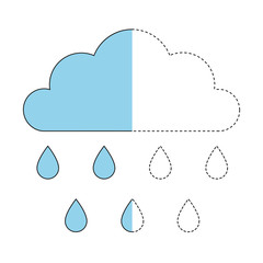 drawing worksheet for preschool kids with easy gaming level of difficulty. Simple educational game for kids. Illustration of cloud and raindrops for toddlers