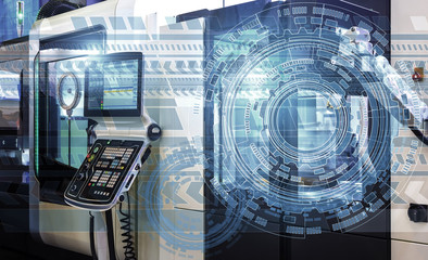 holograms of technological background on top of modern machine with numerical control, concept of industry and mechanical engineering