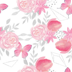 Watercolor pink and silver seamless pattern with butterfly, flow