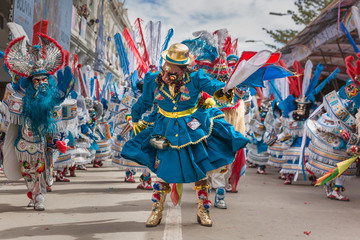 Oruro Bolivia, famous masked dancers. The Carnival of Oruro is a religious festival dating back more than 200 years.