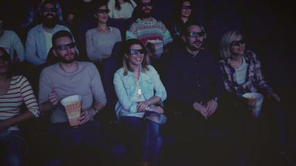 Friends at cinema on movie premier