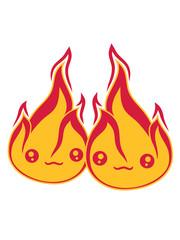 team 2 freunde paar liebe pärchen verliebt gesicht süß niedlich klein comic cartoon feuer flamme heiß brennen verbrennen warm lagerfeuer löschen flammen anzünden feuerteufel