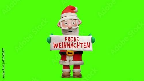 Weihnachten Animation.Weihnachtsmann Aus Knete Mit Schild Frohe Weihnachten Animation