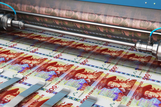 Printing 500 SEK Swedish krona money banknotes