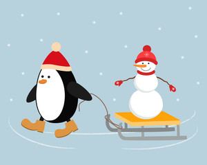 Christmas penguin in a red hat carries a snowman on a sleigh. It can be used as a design element in the Christmas composition. Vector illustration.