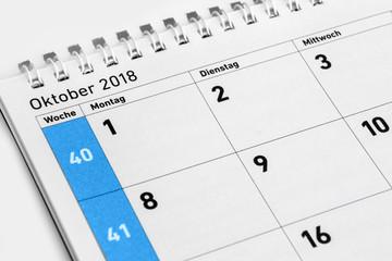 Kalender  -   Oktober  -  2018