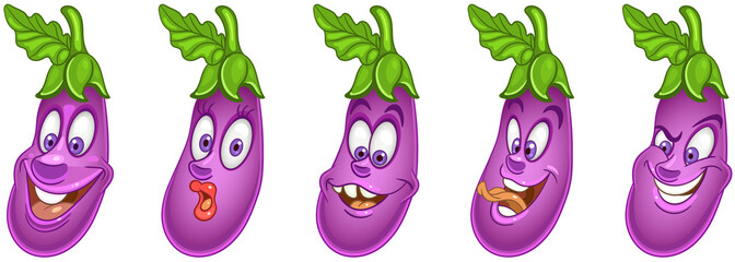 Eggplant. Vegetable food. Emoji emoticon collection.