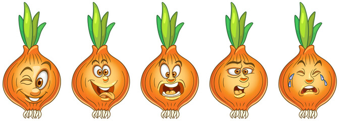 Onion. Vegetable food. Emoji emoticon collection.