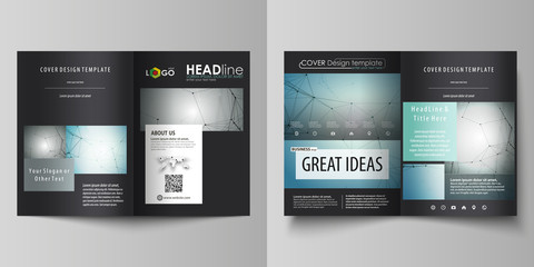 Business templates for bi fold brochure, magazine, flyer, booklet or report. Cover design template, vector layout in A4 size. Geometric background. Molecular structure. Scientific, medical concept.