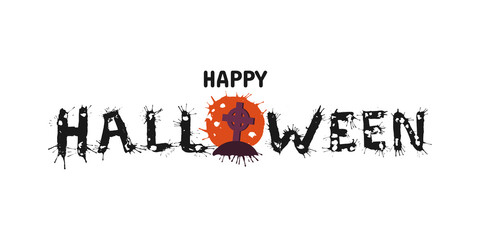 Happy Halloween vector hand drawn lettering with splash. Greeting card  calligraphy with full moon and zombie tomb for holiday banner, poster or invitation.