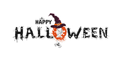 Happy Halloween vector hand drawn lettering with splash. Greeting card  calligraphy with spiders and web, witch hat  for holiday banner, poster or invitation.