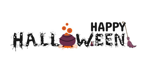 Happy Halloween vector hand drawn lettering with splash on white background. Greeting card  calligraphy with spiders and web,  witch pot and broom for holiday banner, poster or invitation.