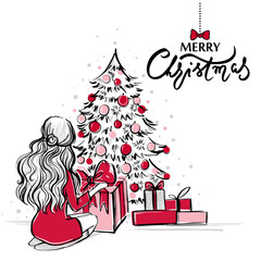 Merry Christmas and Happy New Year vector card. Xmas illustration