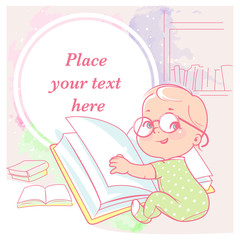 cute little girl  with book  Happy smiling toddler wear glasses, sit, hold book . Physical, intellectual development. Preset for blog. Template for mom's social media. Vector illustration.