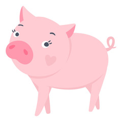 Pigs illustration isolated on white. Symbol of new year