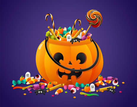Halloween pumpkin basket full of candies and sweets. Vector illustration isolated on violet background.
