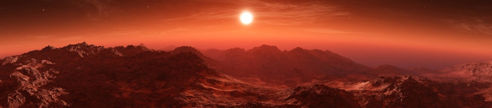 Mars at sunset, sunrise over the surface of an alien planet,