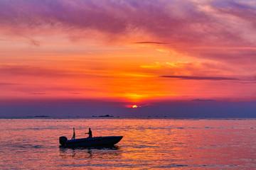 Idyllic sunset ocean bay view