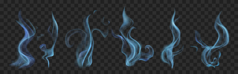 Set of realistic translucent smoke or steam in light blue colors, isolated on transparent background. Transparency only in vector format