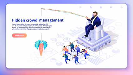 Hidden Crowd Management. Vector Illustration.