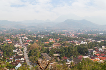 The city of Luang Prabang in Laos viewed from above from the Mount Phousi (Phou Si, Phusi, Phu Si) on a sunny day.