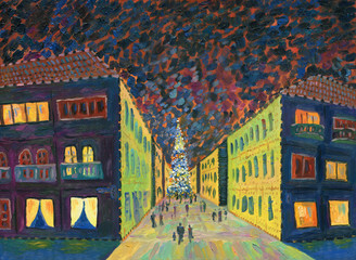 Festive street of the evening city. Christmas time. People go to the Christmas tree. In the windows of houses the light is cozy. Oil Painting. Holiday greeting card.